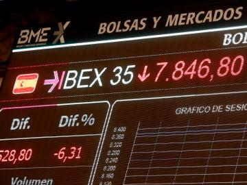 Una pantalla la caída del IBEX 35 en la Bolsa tras la apertura de la sesión