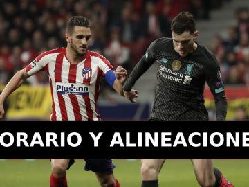 Liverpool - Atlético de Madrid: Alineaciones y dónde ver el partido de Champions League en directo