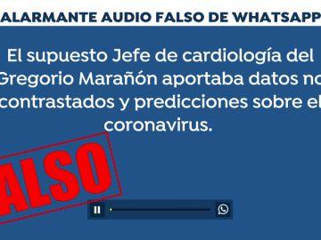 El alarmante audio de whatsapp sobre el coronaviurs de un supuesto cardiólogo del Gregorio Marañón es falso