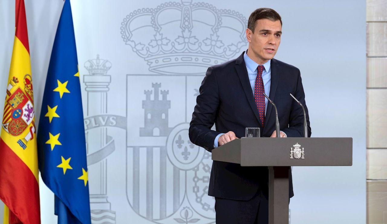 Pedro Sánchez en rueda de prensa desde Moncloa