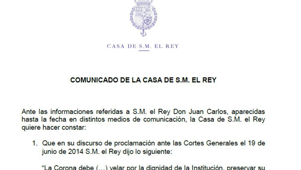 Comunicado Casa Real