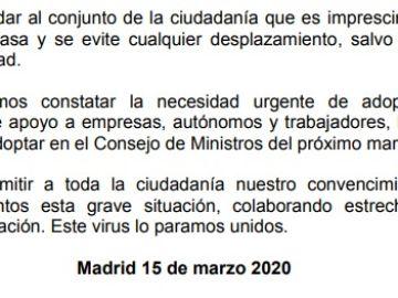 Comunicado de los presidentes autonómicos sobre las medidas contra el coronavirus