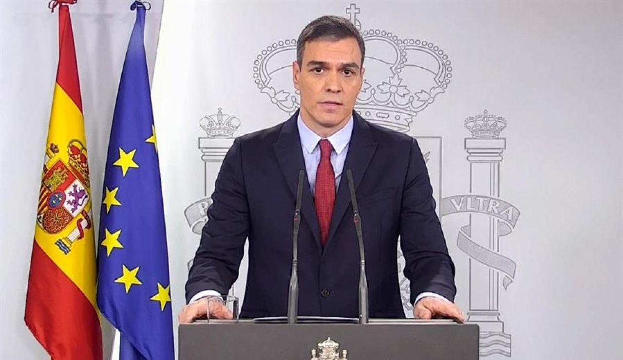 Pedro Sánchez, en una declaración institucional en el Palacio de la Moncloa