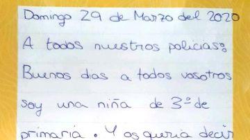 La carta de una niña a los policías por luchar contra el coronavirus
