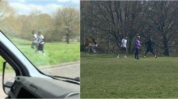 Imágenes del polémico entrenamiento de Mourinho y tres jugadores en un parque del norte de Londres