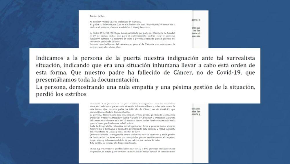 """La queja del hijo de un fallecido en Valencia por las normas en los entierros: """"Me cerraron la puerta del cementerio en la cara"""""""