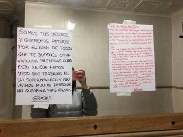 La nota que ha encontrado una trabajadora de supermercado en Cartagenea durante la pandemia de coronavirus