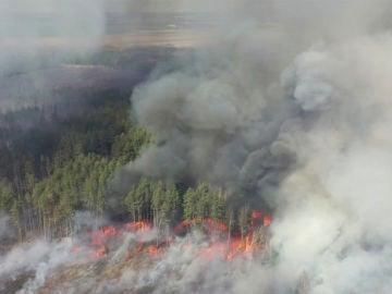Incendio cerca de la central nuclear de Chernóbil