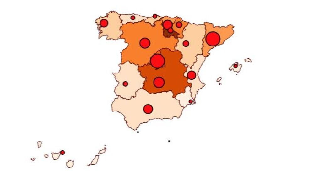 Mapa del coronavirus hoy martes 14 de abril