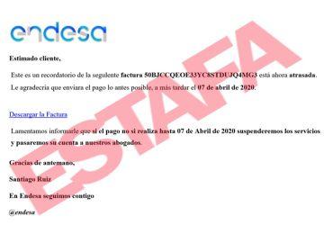 Estafa Endesa. Phishing Endesa
