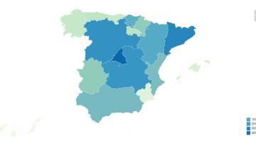 Mapa de la cifra de ancianos fallecidos en residencias