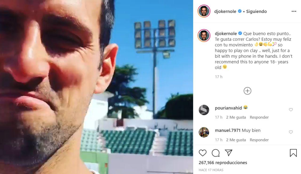 Djokovic se graba entrenando
