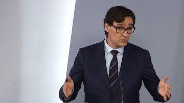 El ministro de Sanidad, Salvador Illa, durante la rueda de prensa posterior al Consejo de Ministros.