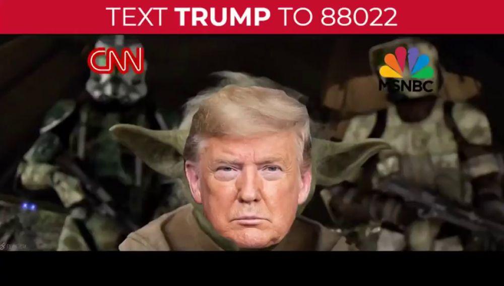 La campaña de Donald Trump donde simula ser Yoda y decapitar a la CNN en plena crisis sanitaria por el coronavirus