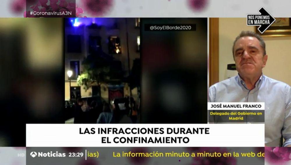 """José Manuel Franco, delegado del Gobierno en Madrid: """"No podemos permitir que, por comportamientos insolidarios, se produzca un retroceso"""""""