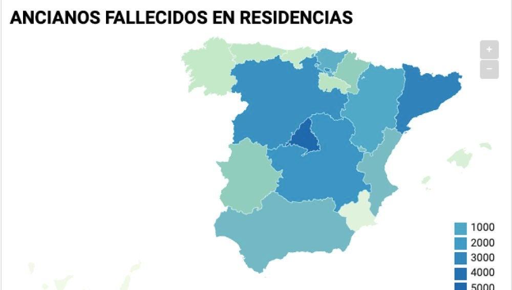 Mapa de muertes en residencias