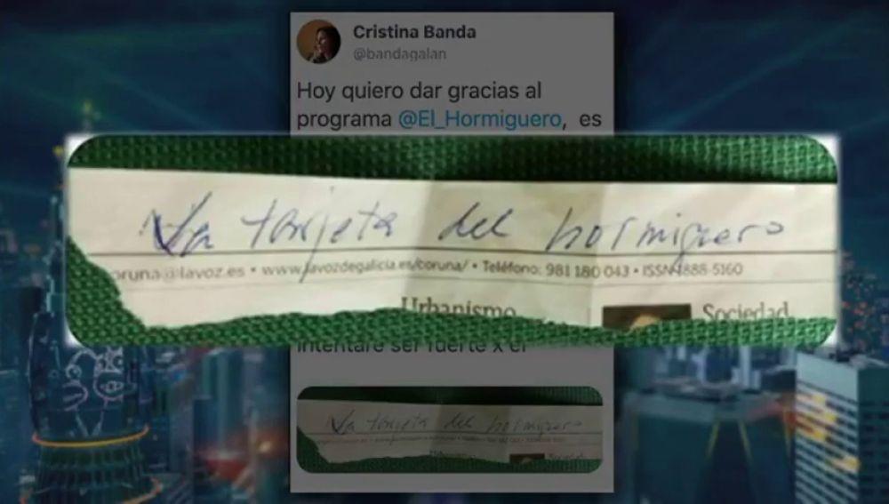 """Encuentra entre los objetos de su padre fallecido por coronavirus la famosa respuesta de 'El Hormiguero': """"Gracias por hacernos sonreír en esta pesadilla"""""""