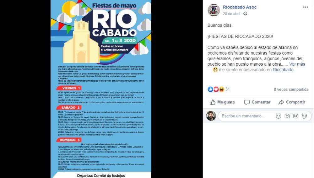 Facebook Asociación Riocabado