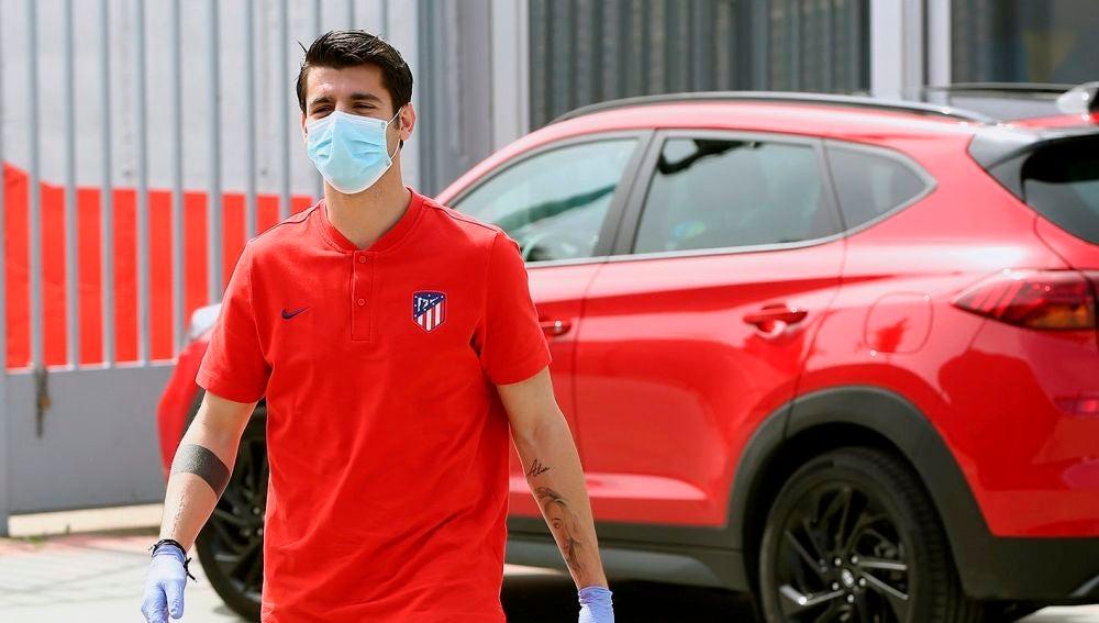 Álvaro Morata, a su llegada a los test de coronavirus