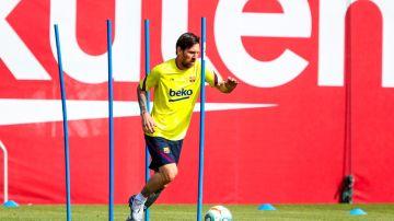 El Barça, entrenando