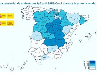 Mapa provincial de anticuerpos durante la primera ronda.