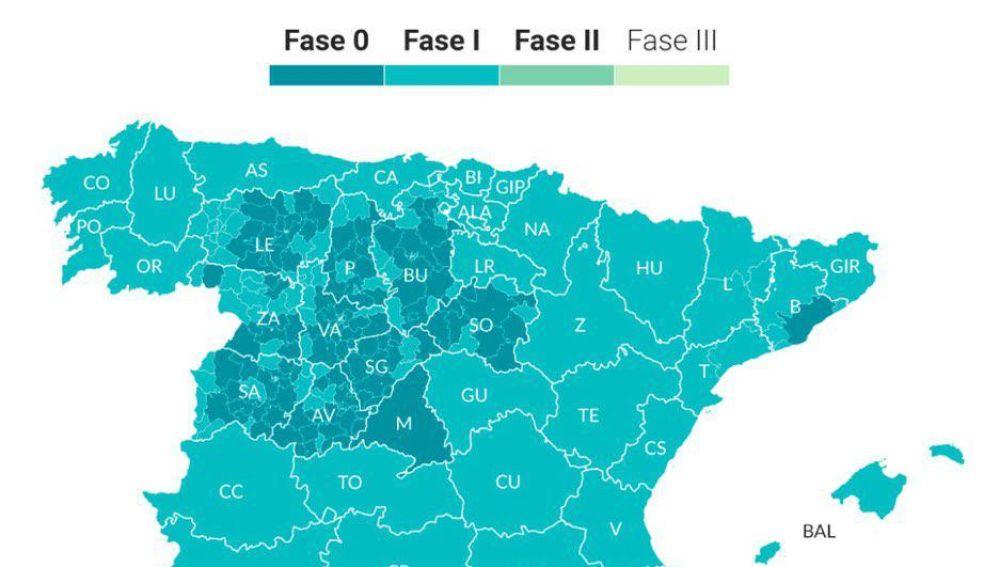 Así se queda España: fase 0, 1 y 2