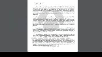 La respuesta de la Comunidad de Madrid a Sanidad