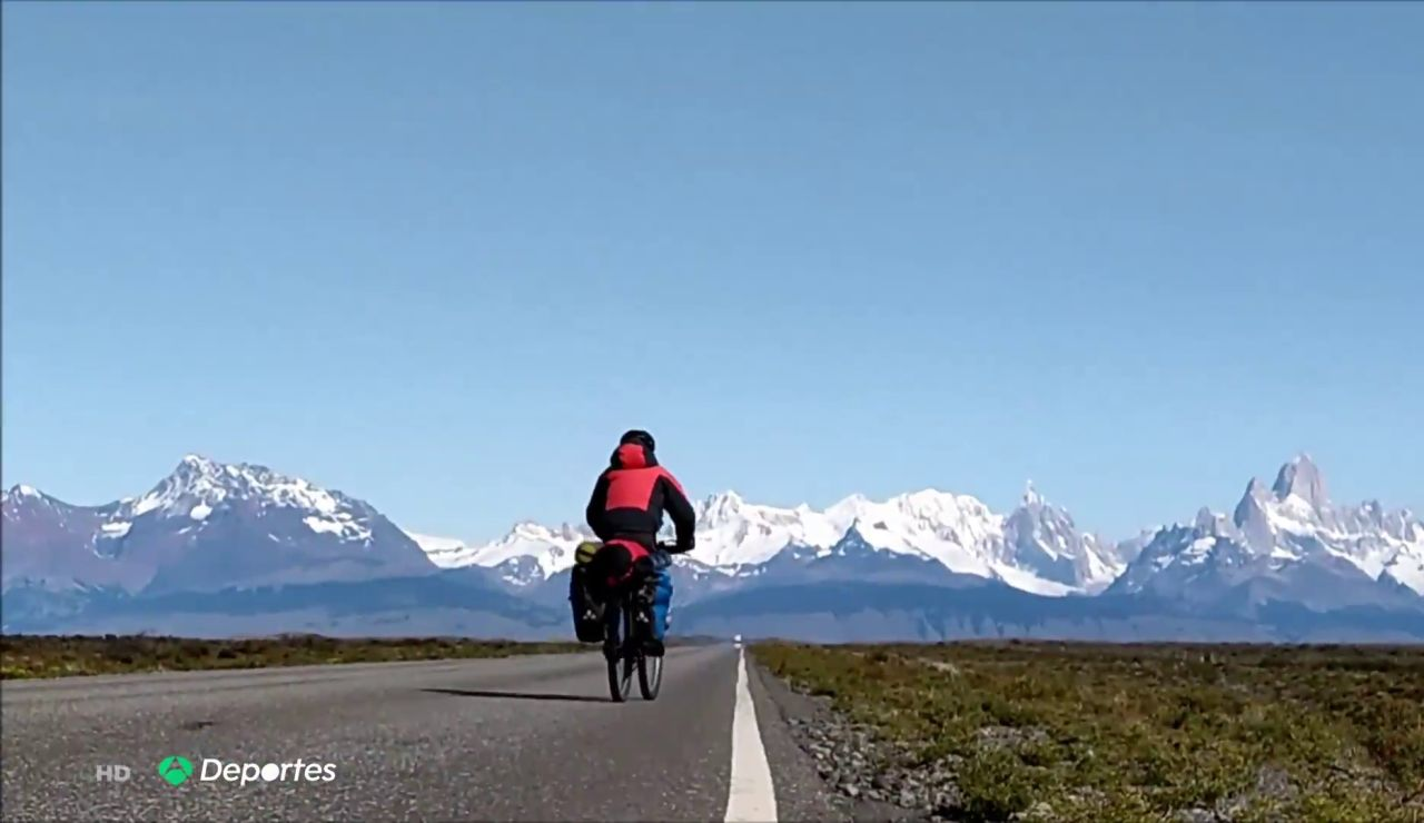 Daniel Zaragoza durante su reto en la Patagonia
