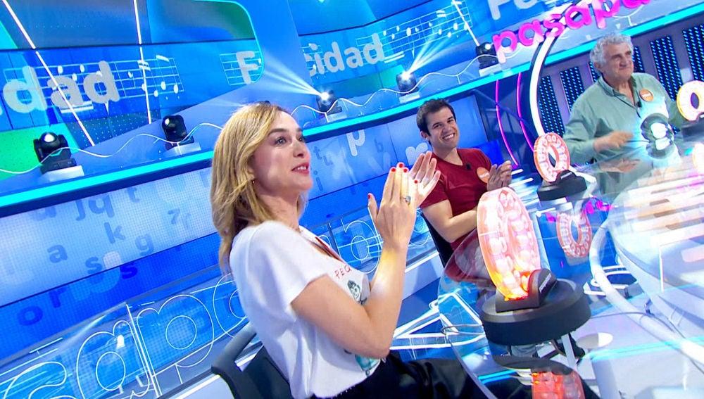 Las espontáneas reacciones de Berta Collado y el acierto de Marta Hazas llenan de 'Felicidad' el plató de 'Pasapalabra'