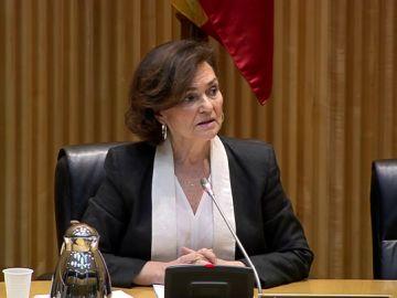 Carmen Calvo, en la comisión de reconstrucción