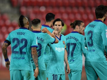 Los jugadores del Barcelona celebran un gol ante el Mallorca