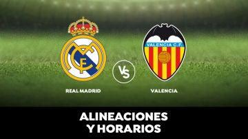 Real Madrid - Valencia: Alineaciones, horario y dónde ver el partido de hoy en directo