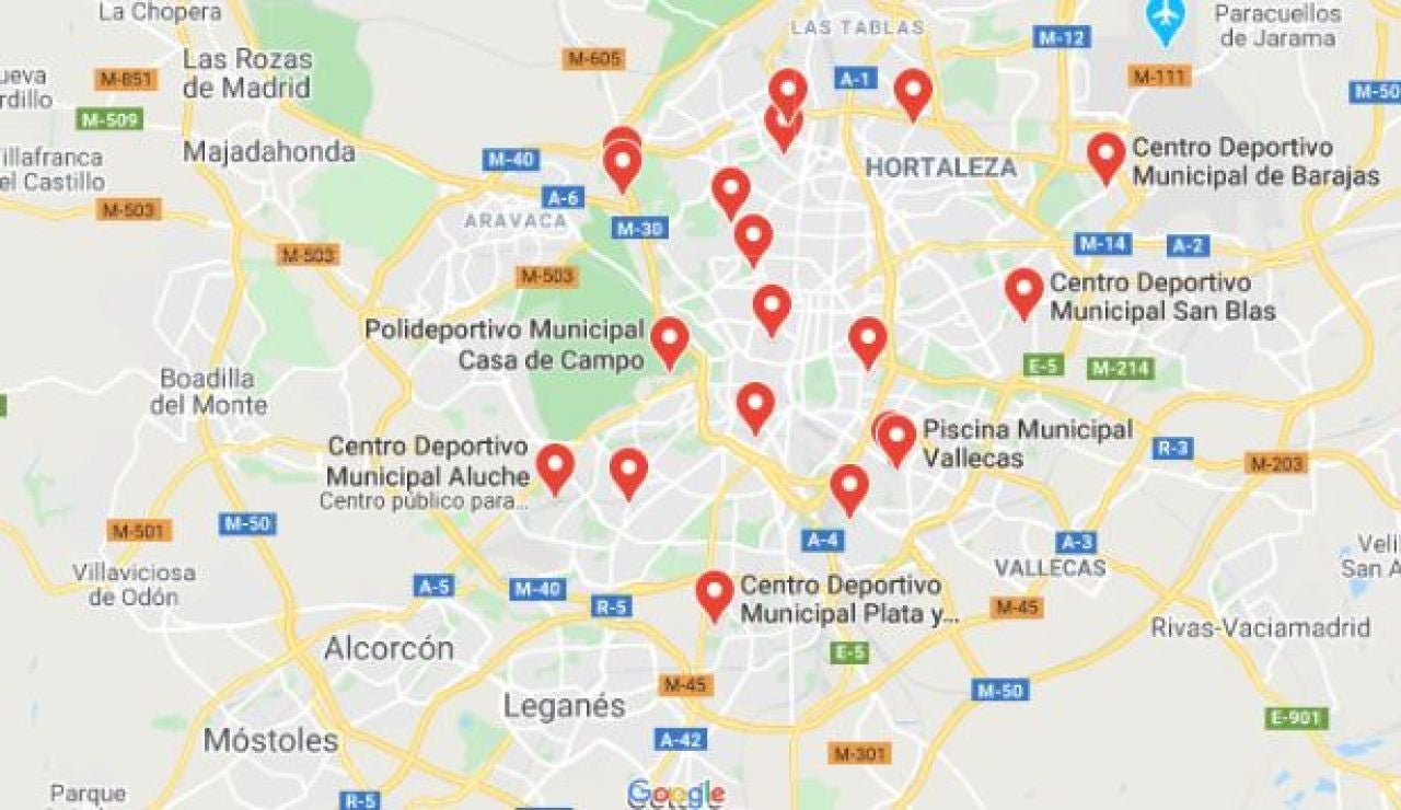 Mapa de las piscinas municipales de Madrid