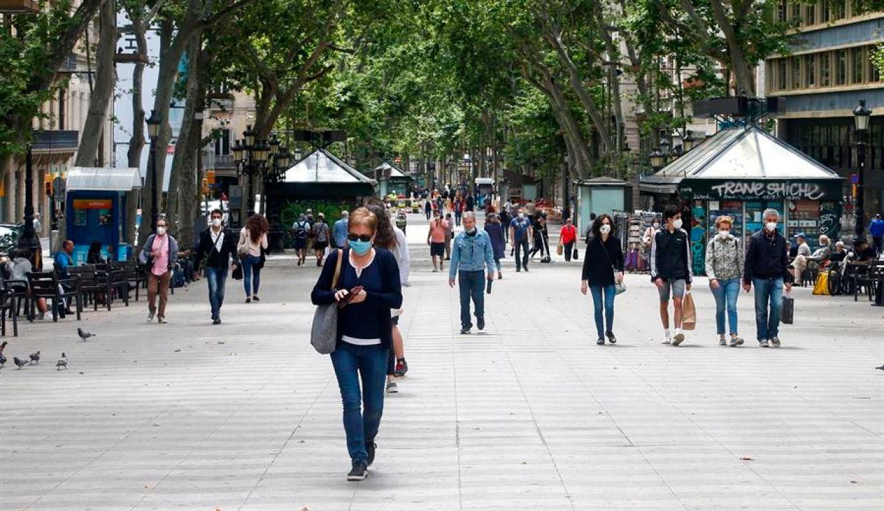 Aspecto de las Ramblas de Barcelona.