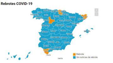 Mapa de los rebrotes en España jueves 18 junio
