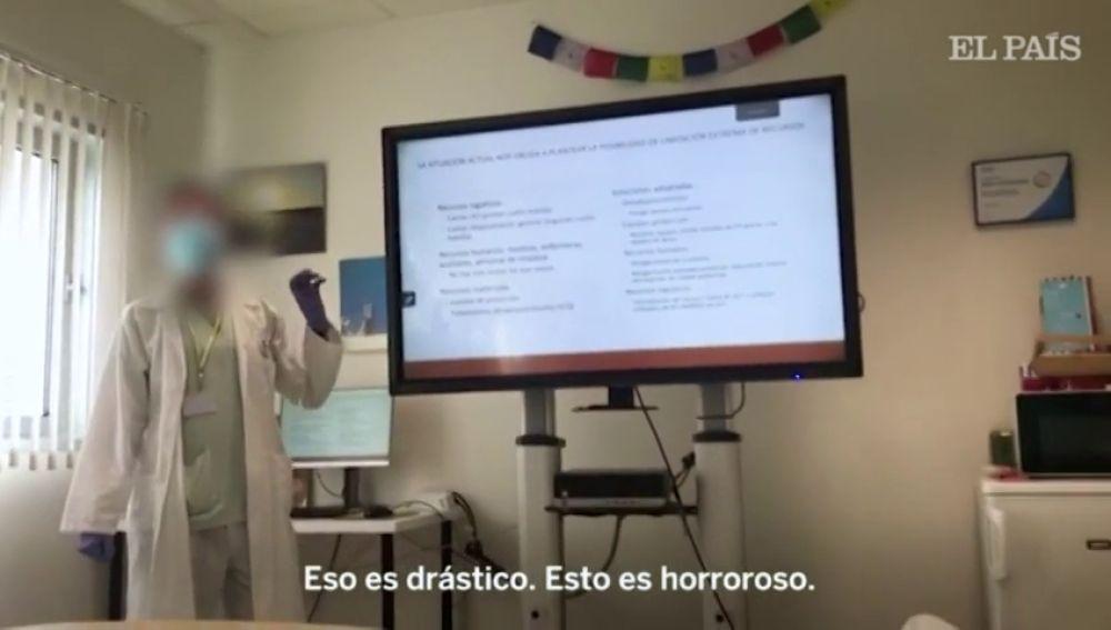 """El vídeo de las polémicas indicaciones que se dio a los médicos en el hospital de Parla: """"Esto es horroroso"""""""