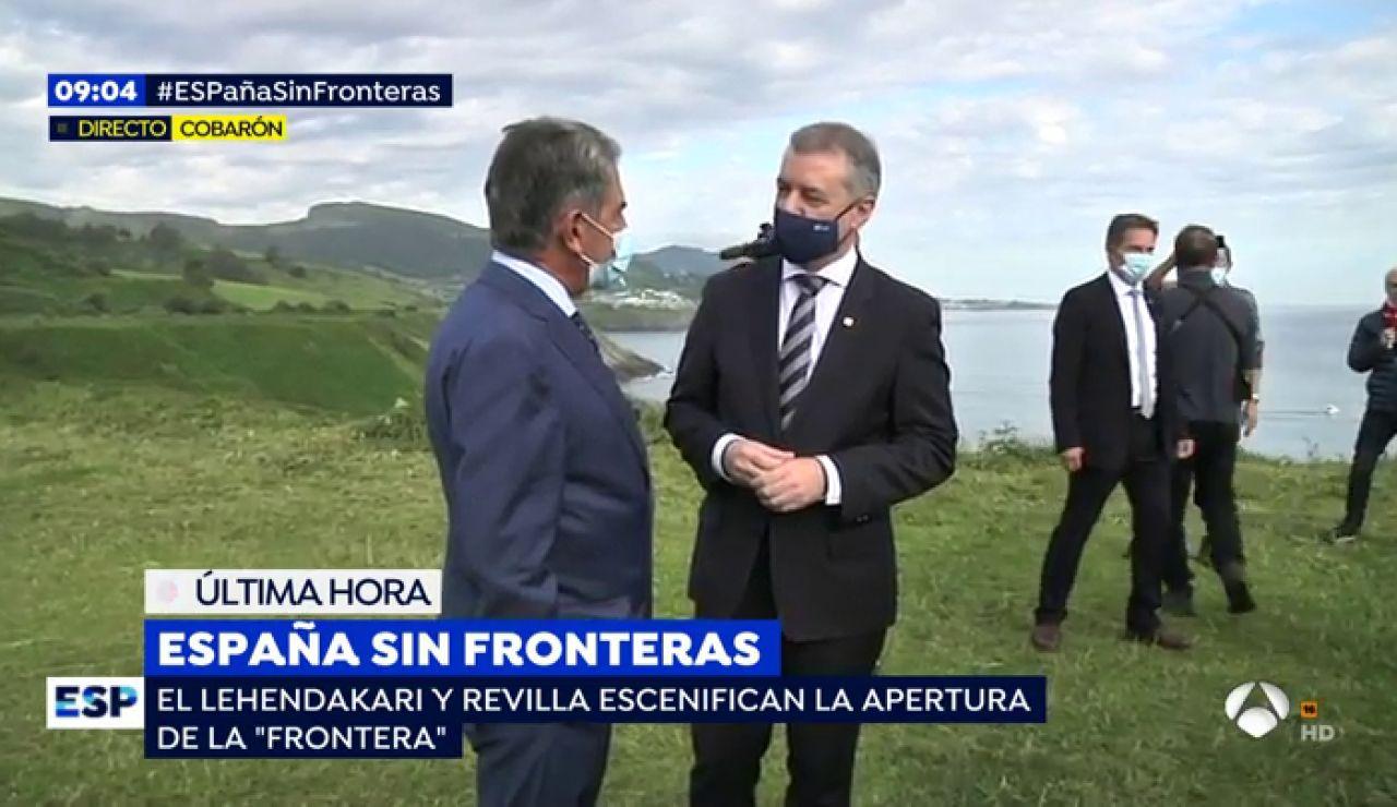 El lehendakari Iñigo Urkullu y el presidente Miguel Ángel Revilla reabren la frontera entre País Vaco y Cantabria