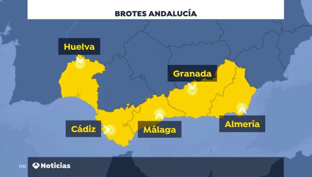 Andalucía suma ya ocho rebrotes de coronavirus con nuevos casos en Granada y Huelva