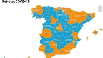 Mapa de los rebrotes de coronavirus en España