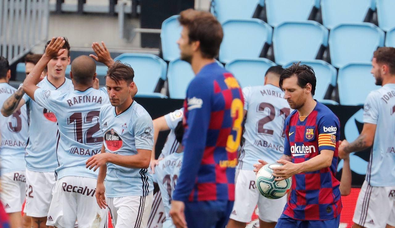 Los jugadores del Celta de Vigo celebran el gol de Iago Aspas