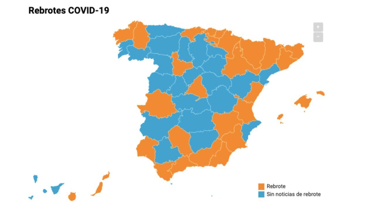 Mapa rebrotes de coronavirus