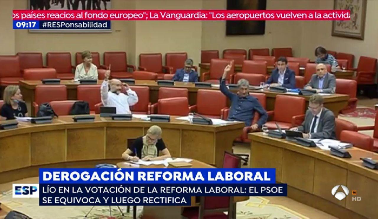 Sorpresa en el Congreso cuando el PSOE obliga a repetir una votación sobre la reforma laboral tras apoyar a Bildu por error