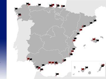 Banderas negras en las playas españolas