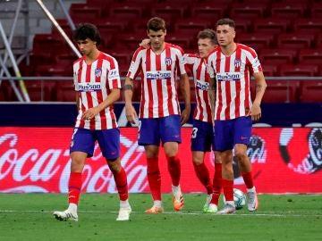 Los jugadores del Atlético celebran un gol ante el Mallorca