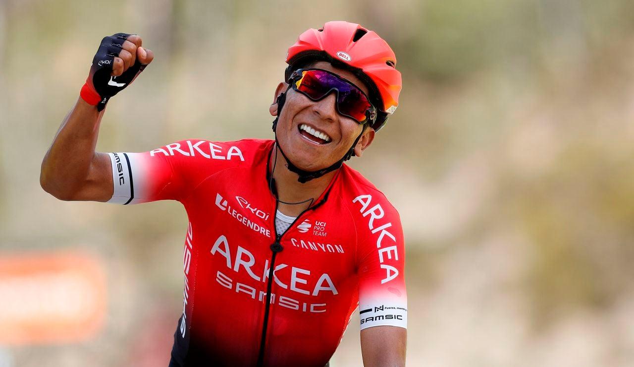 El ciclista Nairo Quintana, celebrando una victoria
