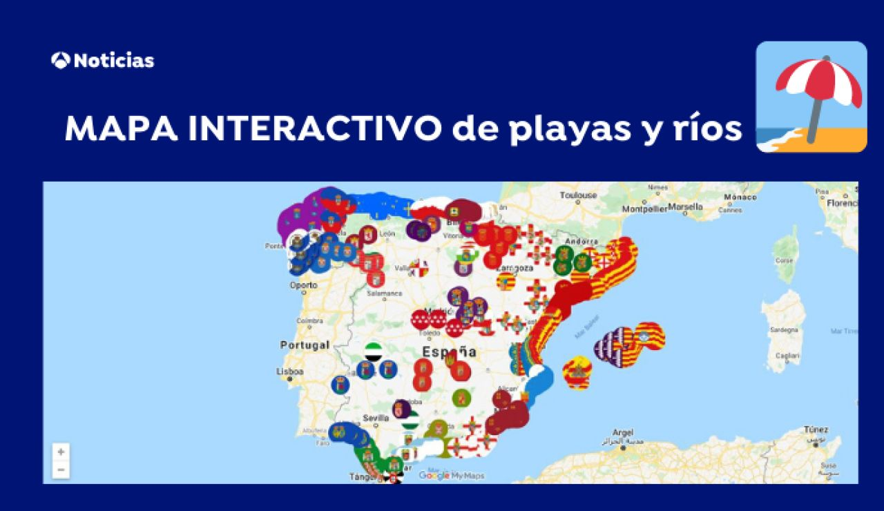 Mapa interactivo de playas, ríos y pantanos