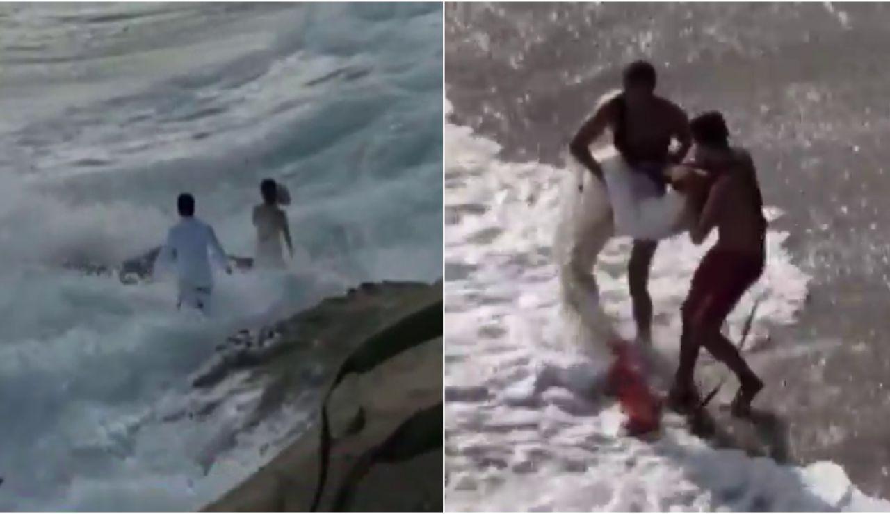 Rescatan a unos novios tras ser engullidos por el océano en plena sesión de fotos de boda