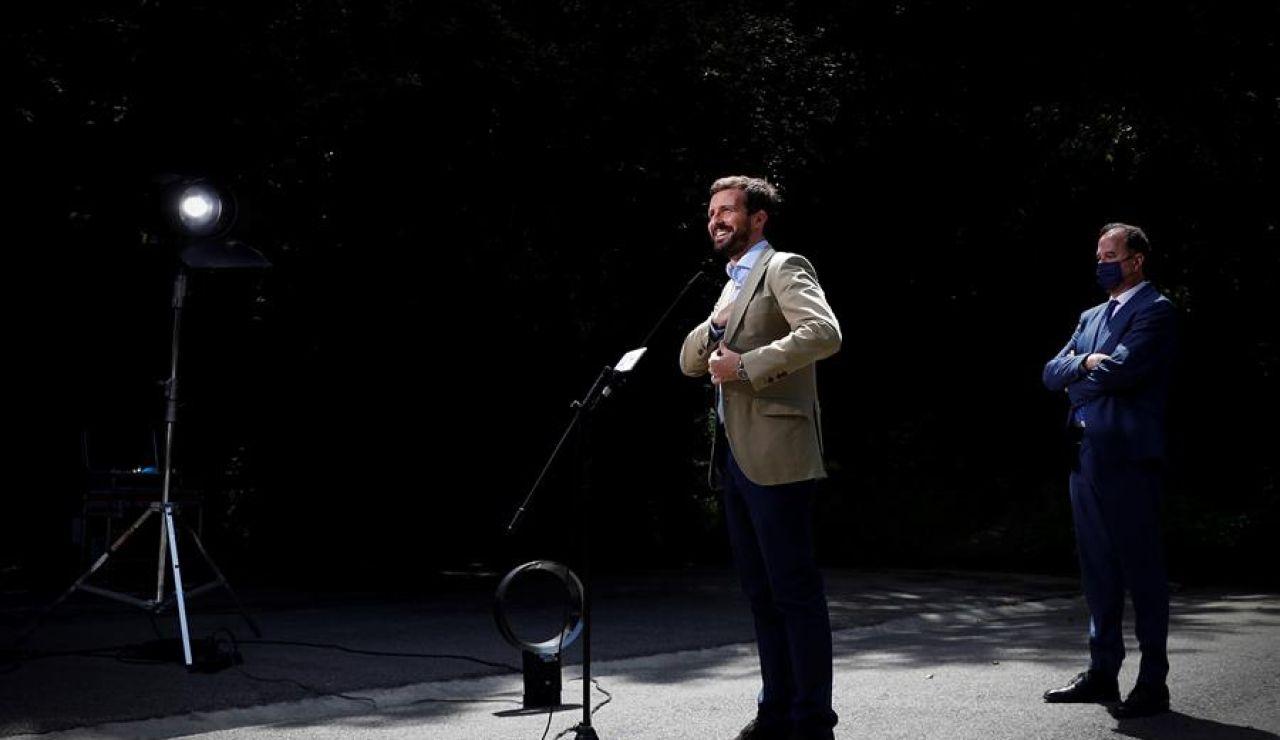 Pablo Casado en un acto de las elecciones vascas