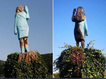 Queman una estatua de Melania Trump