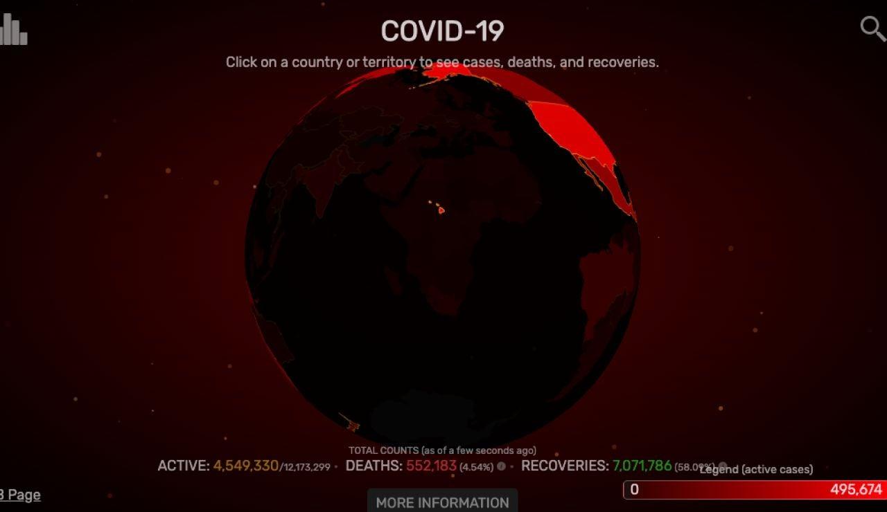 Mapa de contagios en el mundo 09/07/2020